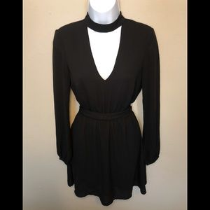 S4 DIVIDED V-Neck Long Sleeve Cinched Black Dress